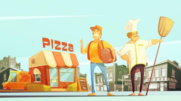 Pizza levering illustratie Gratis Vector