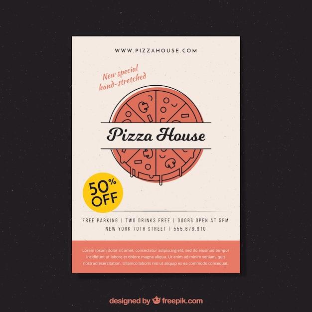 Pizza leveringsboekje in lineaire stijl Gratis Vector