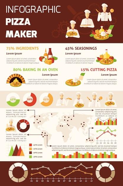 Pizza maken van infographics Gratis Vector