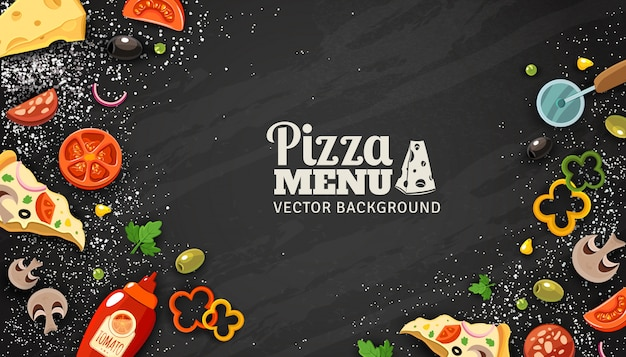 Pizza menu chalkboard achtergrond Gratis Vector