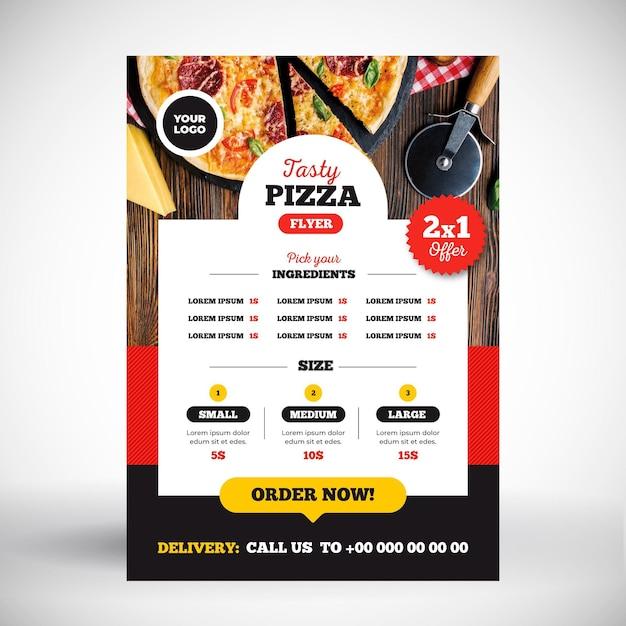 Pizza menu concept Gratis Vector