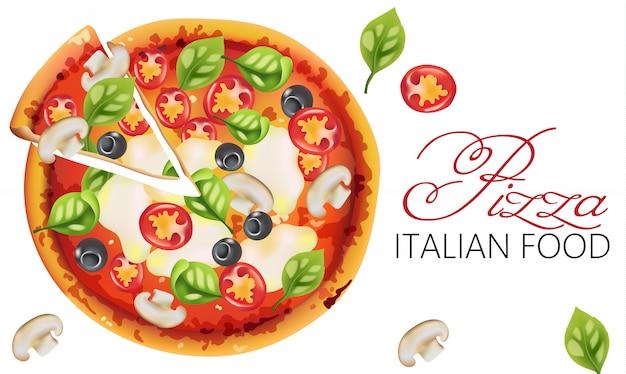 Pizza met basilicumblaadjes, tomaten, saus, mozzarellakaas, champignons en zwarte olijven Gratis Vector