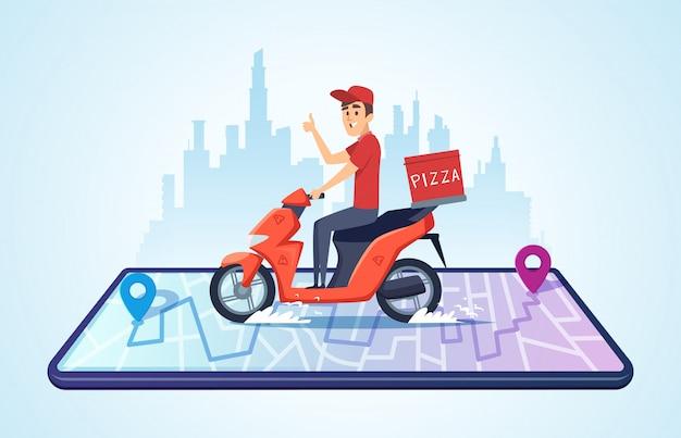 Pizza motor levering. stedelijk landschap met voedsel koerier rijden fiets snelle levering Premium Vector