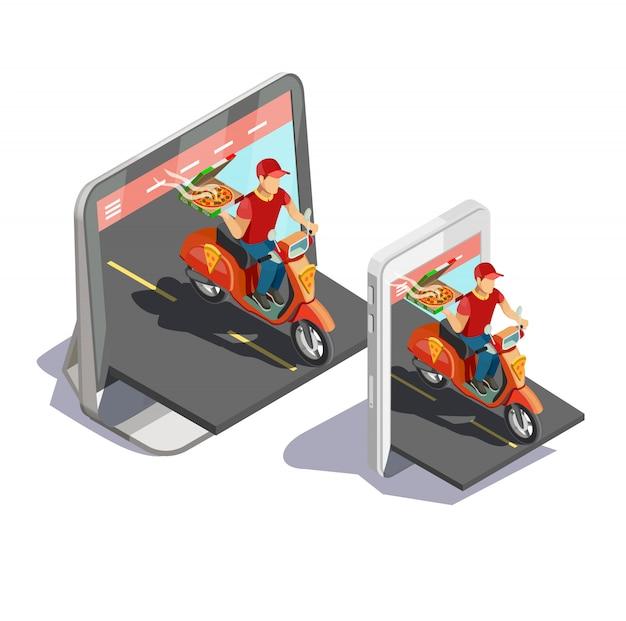 Pizza online levering concept Gratis Vector