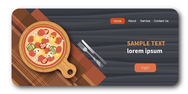 Pizza op houten bord naast vork en mes Premium Vector