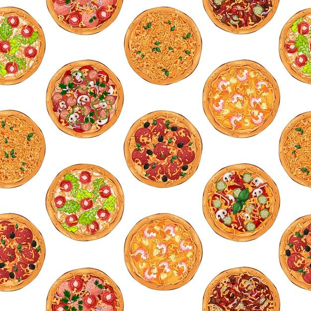 Pizza patroon Premium Vector