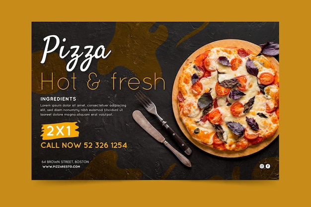 Pizza restaurant banner Premium Vector