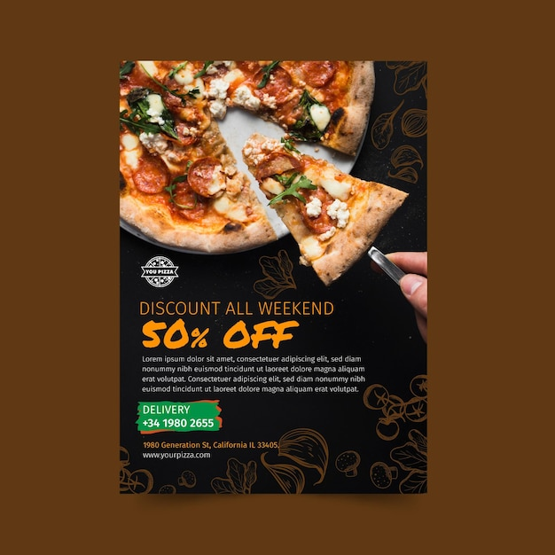 Pizza restaurant flyer verticaal Premium Vector