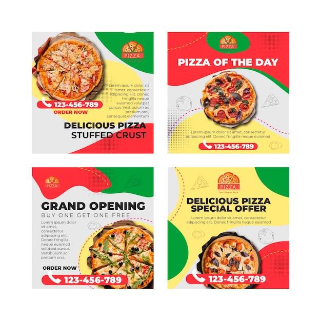 Pizza restaurant instagram posts sjabloon Premium Vector