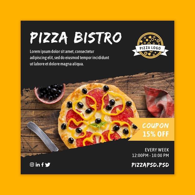 Pizza restaurant kwadraat flyer sjabloon Gratis Vector
