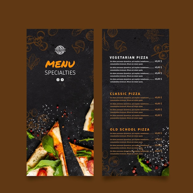 Pizza restaurant menu Premium Vector