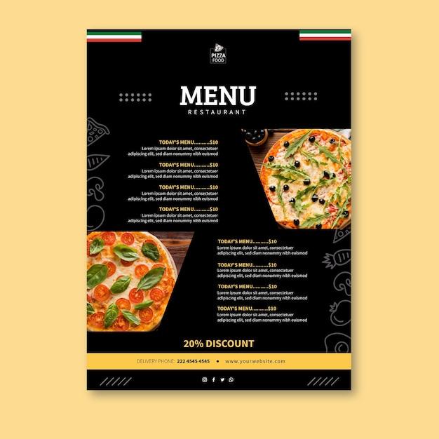 Pizza restaurant menusjabloon Gratis Vector