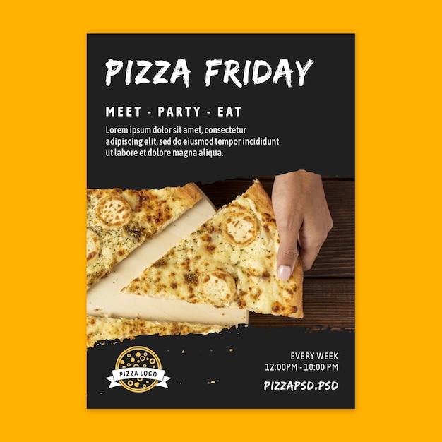 Pizza restaurant poster sjabloon Gratis Vector