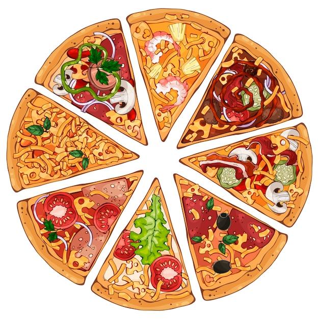 Pizza schuift Premium Vector