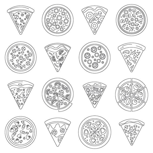 Pizza slice pictogramserie Premium Vector