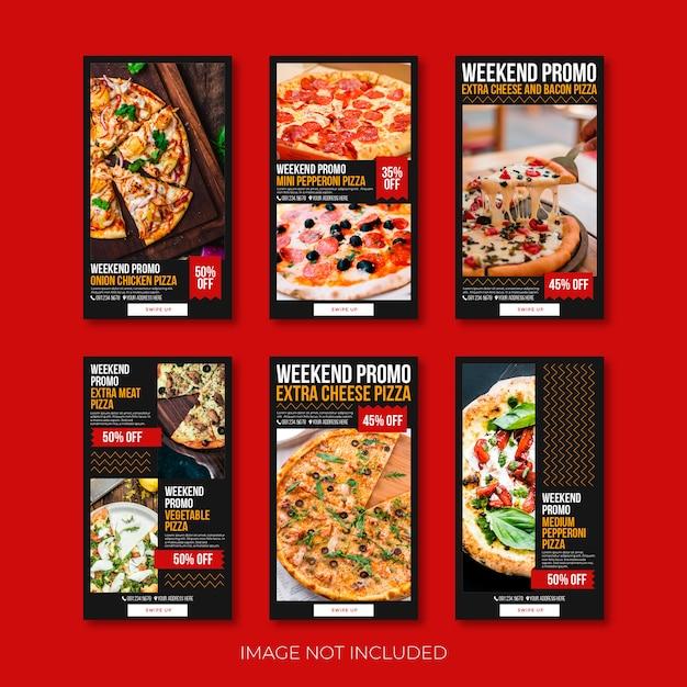 Pizza sociaal instagram verhaal of sjabloon voor spandoek Premium Vector