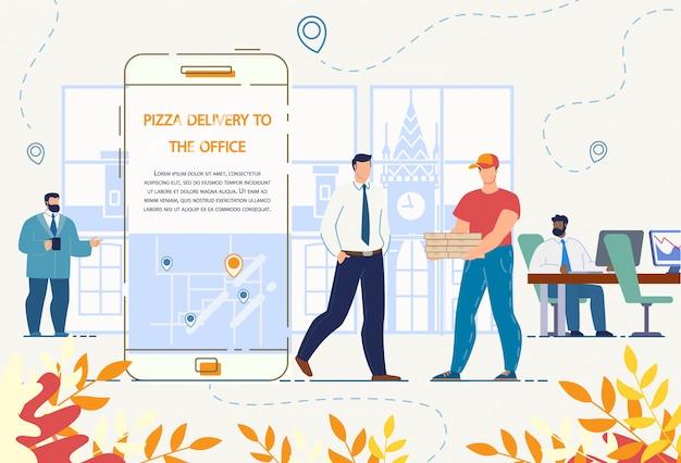 Pizzabezorging aan office-service via mobiele app Premium Vector