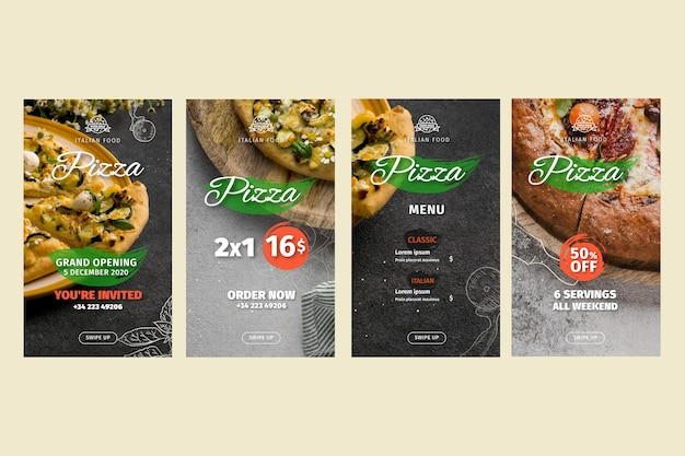 Pizzarestaurant instagram-verhalen Gratis Vector