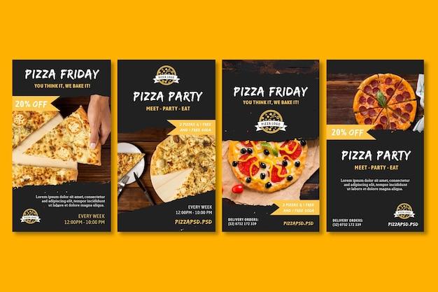 Pizzarestaurant instagram-verhalen Gratis Vector