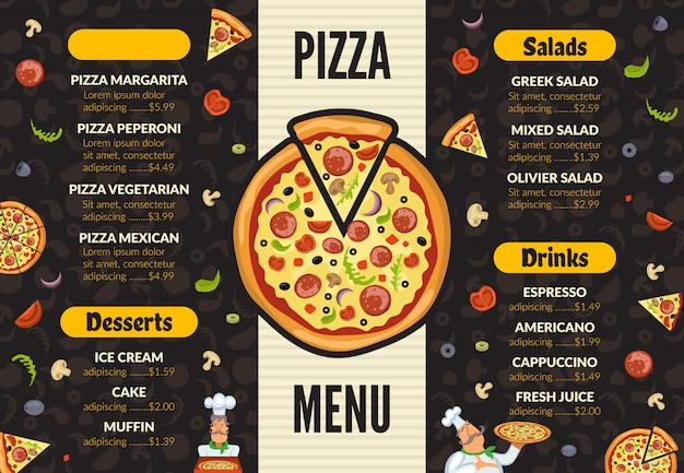 Pizzeria menusjabloon. italiaanse keuken keuken voedsel pizza ingrediënten koken lunch en desserts achtergrond Premium Vector