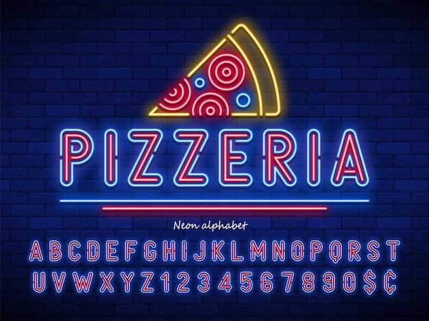 Pizzeria neonlicht alfabet, extra gloeiend lettertype Premium Vector