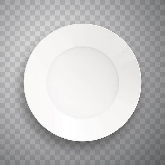 Plaat geïsoleerd op transparant. realistische voedselplaat. Premium Vector