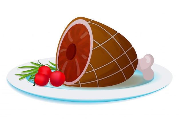 Plaat met gegrild vlees en groenten Premium Vector