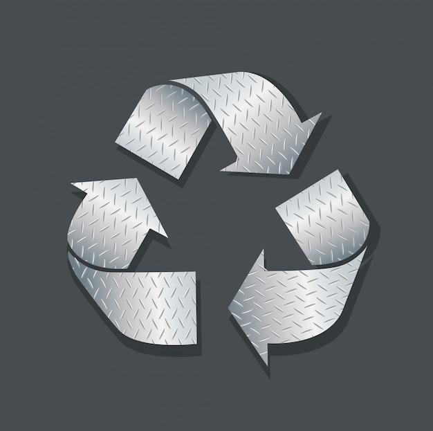 Plaatmetaal recycle pictogram symbool vector Premium Vector