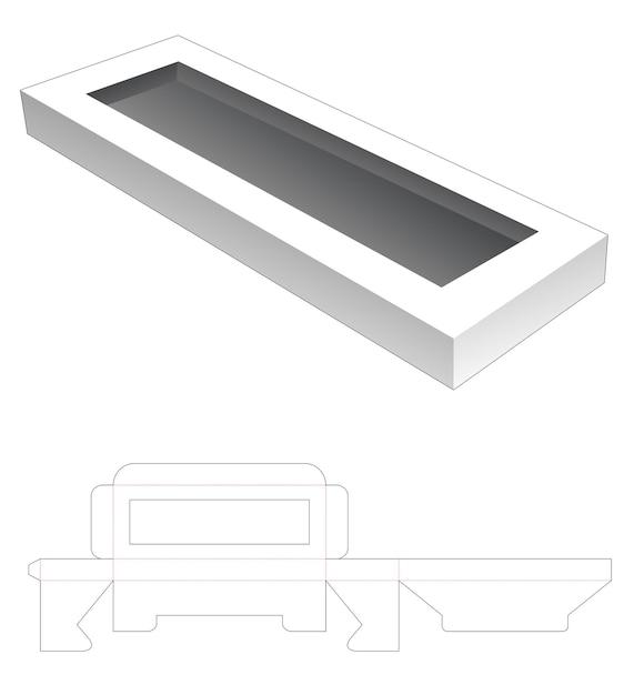 Plaats een lange rechthoekige doos gestanst sjabloon Premium Vector