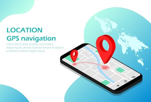 Plaats. mobiele navigatie. gps. isometrisch. geschikt voor websitepagina, infographics, reclame, toepassingen. Premium Vector
