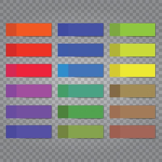 Plaats nota-stickers geïsoleerd op transparante achtergrond. Premium Vector