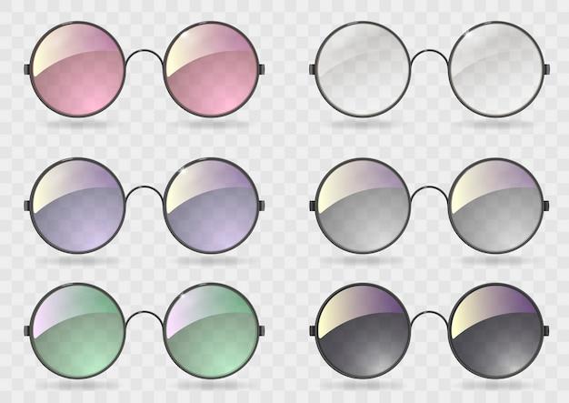 Plaats ronde glazen met verschillend glas Premium Vector