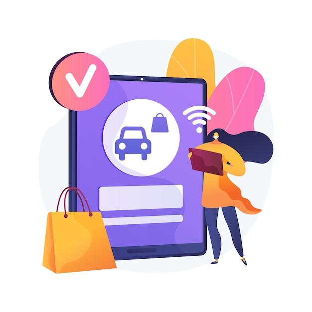 Plaats uw ophaalbestelling online abstracte concept illustratie. veilig afhalen van boodschappen, quickservice klant, sociale afstand, contactloos afhalen, bestelling vooruit betalen Gratis Vector