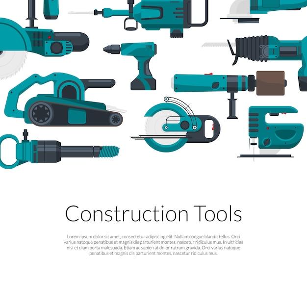 Plaats voor tekst met elektrische bouwgereedschapset Premium Vector