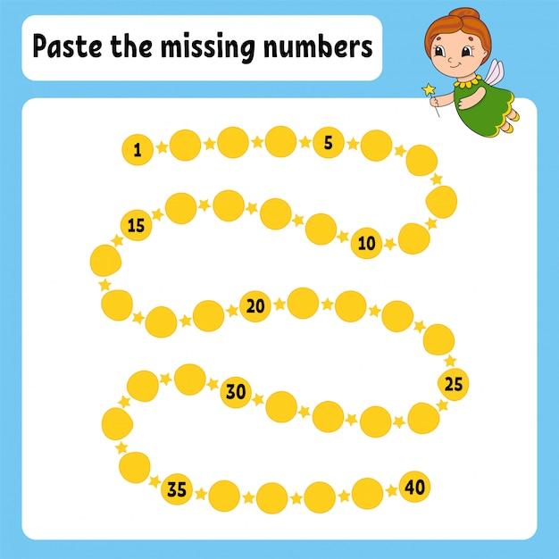 Plak de ontbrekende nummers. handschrift praktijk. getallen leren voor kinderen. Premium Vector