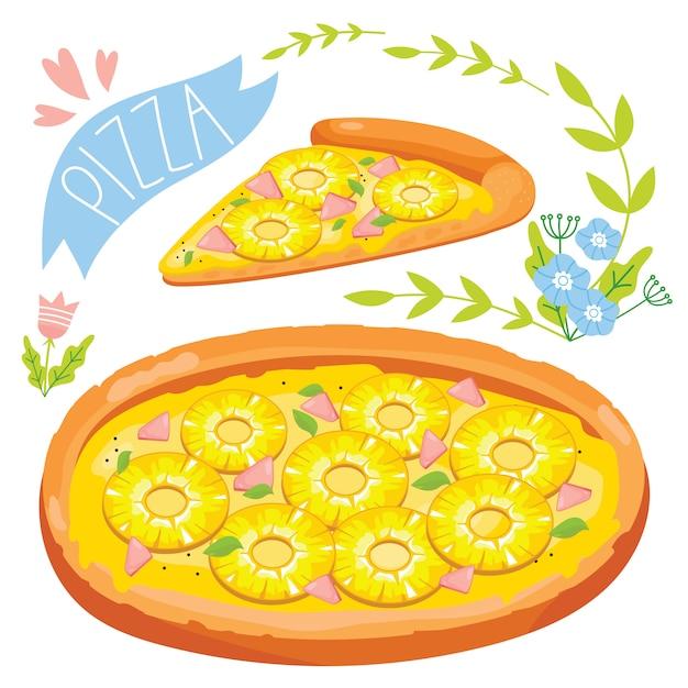 Plak van pizza op witte achtergrond wordt geïsoleerd die Premium Vector