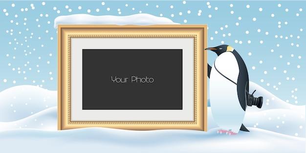 Plakboek met nieuwjaar, kerstmis of winterillustratie als achtergrond Premium Vector