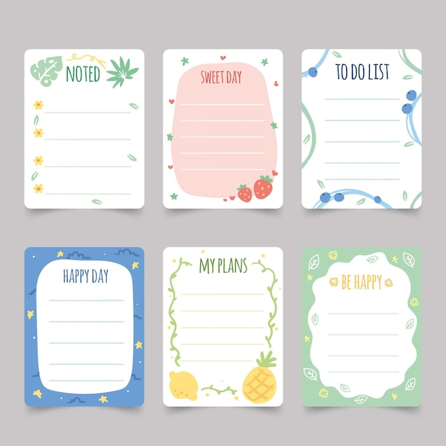 Plakboeknotities en kaarten instellen Gratis Vector