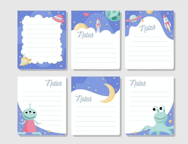 Plakboeknotities en -kaarten Gratis Vector