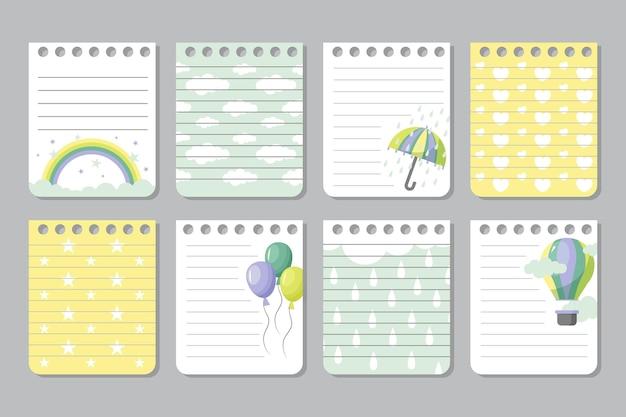 Plakboeknotities en kaarten Gratis Vector