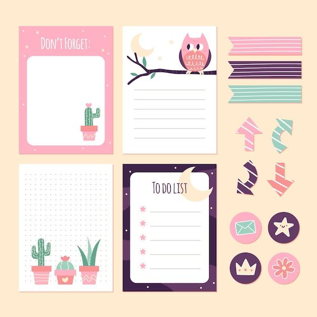 Plakboeknotities en stickers van cactussen en uilen Gratis Vector