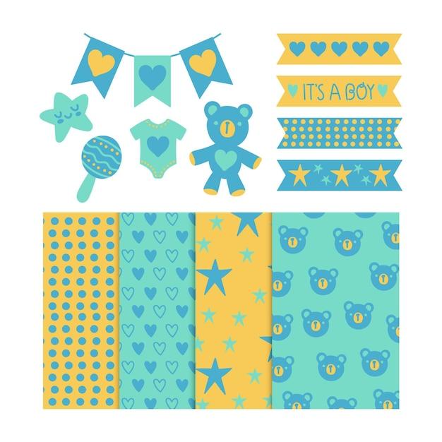 Plakboekpakket voor babydouche Gratis Vector