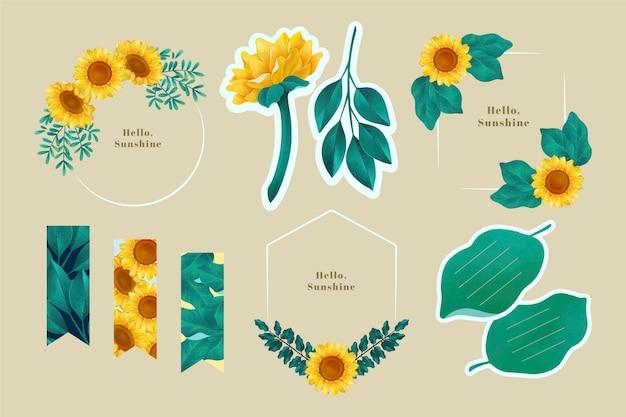 Plakboekset en frames met zonnebloemontwerp Gratis Vector