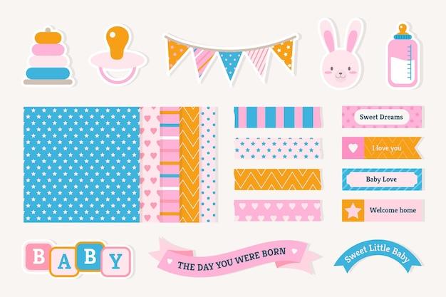 Plakboekset voor babydouche Gratis Vector