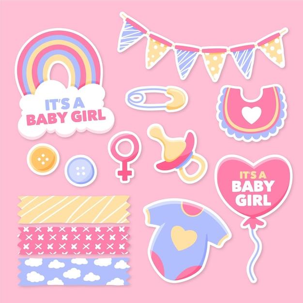 Plakboekset voor babydouche Premium Vector