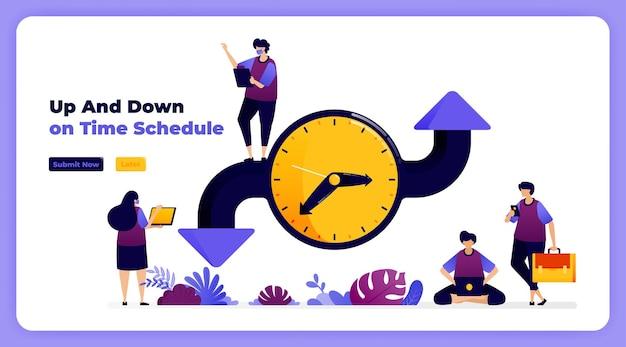 Plan en pas de tijd aan bij het organiseren van evenementen, vergaderingen en agenda's. Premium Vector