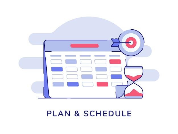 Plan en plan kalender marker zandloper doelwit geïsoleerde achtergrond Premium Vector