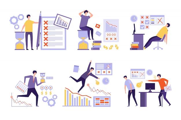 Plan mislukt. over veel taken slecht beheer niet-georganiseerde zakenmensen overuren werkschema concept Premium Vector