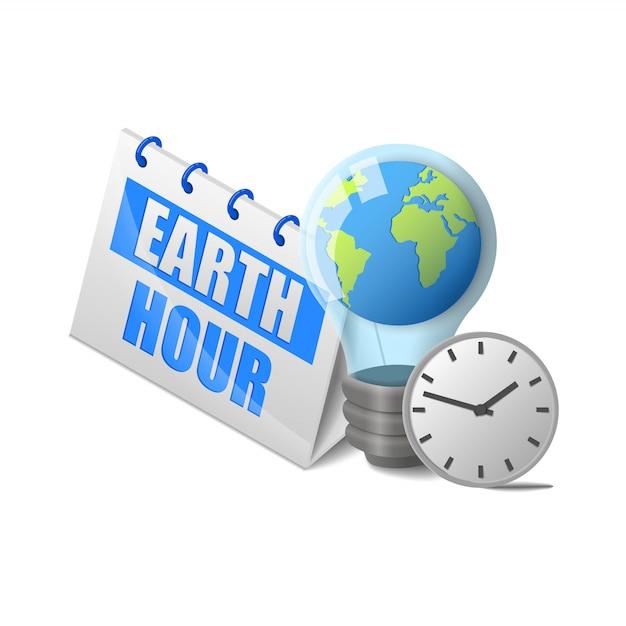 Planeet aarde in een gloeilamp en klok in de buurt van kalender aarde uur belettering isometrische geïsoleerd Premium Vector