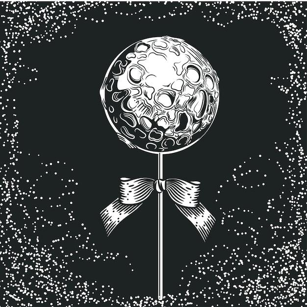Planeet in de vorm van snoep op een stokje. ruimte illustratie. Premium Vector
